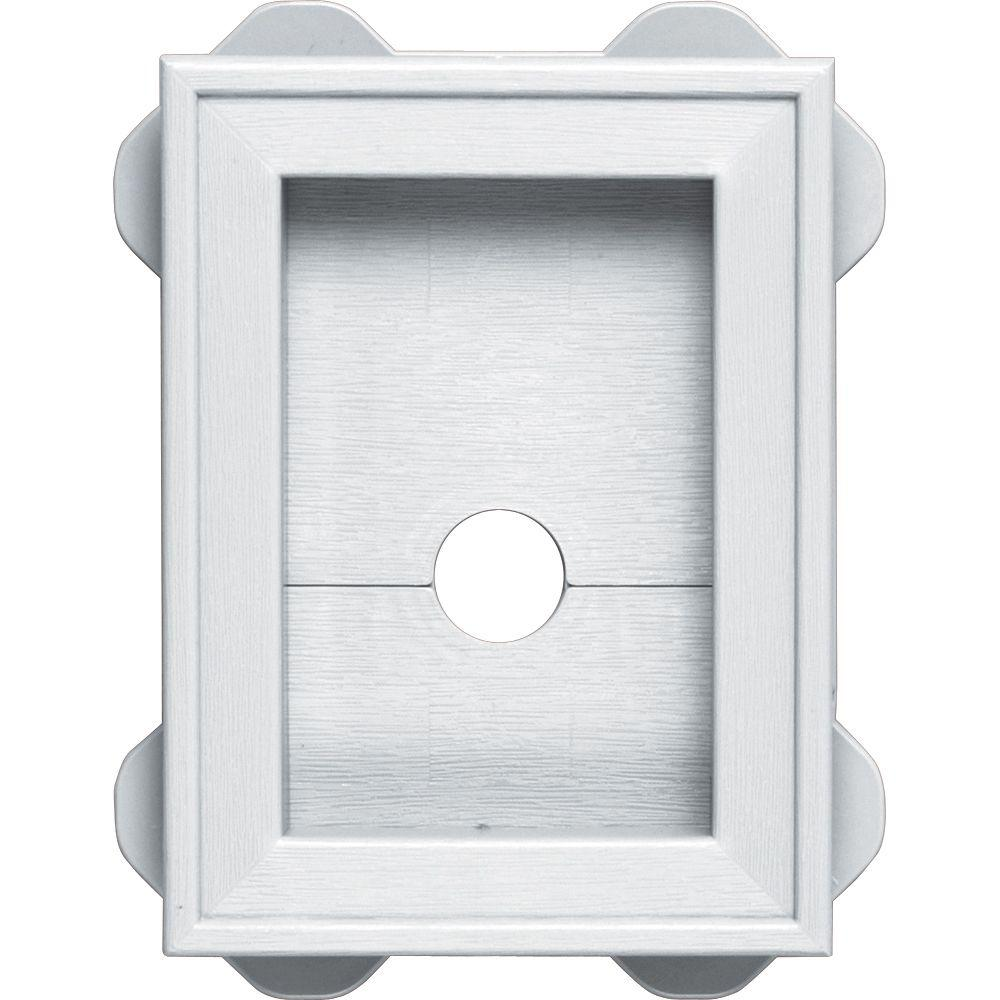 Builders Edge 5.5 in. x 8.625 in. #001 White Wrap Around Mounting Block