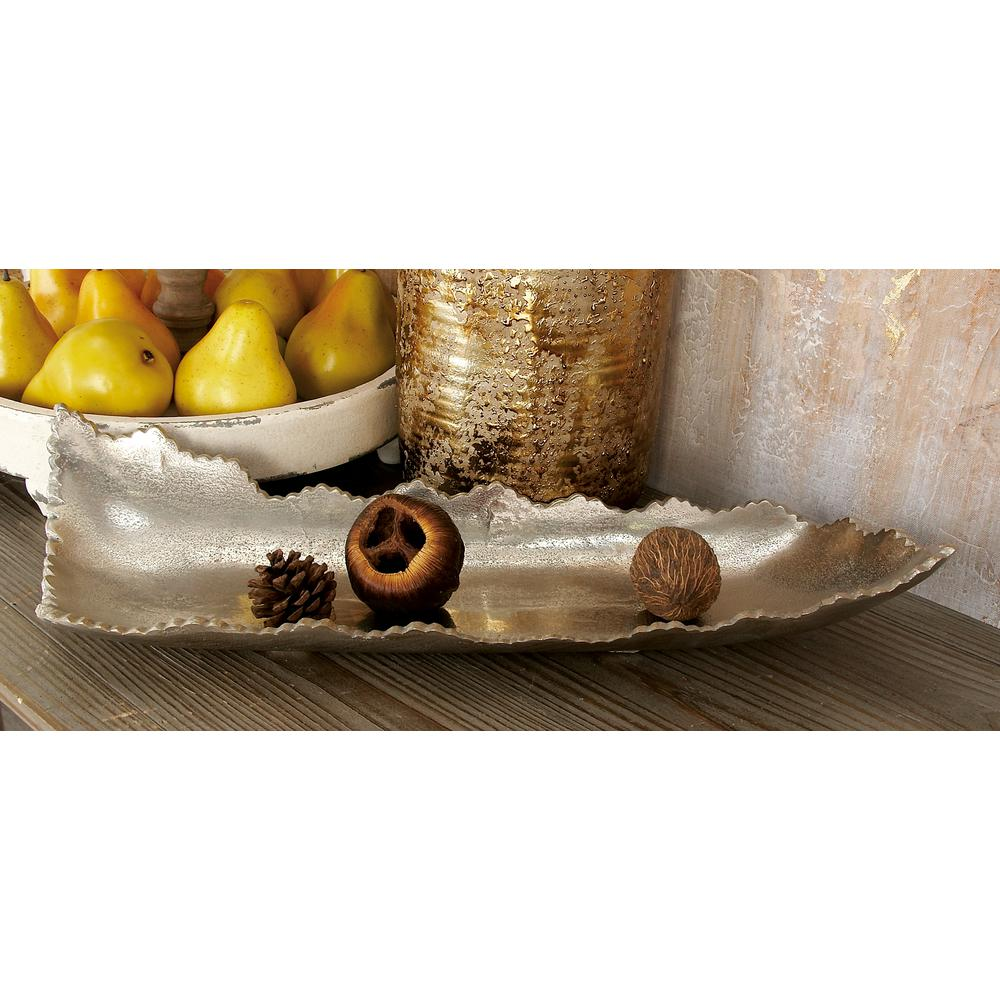 19 in. x 4 in. Blemished Silver Aluminum Free-Form Bowled Tray