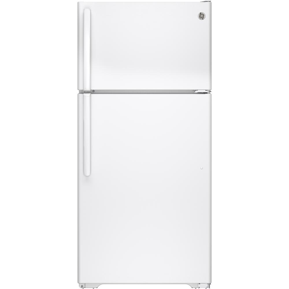 GE 14.6 cu. ft. Top Freezer Refrigerator in White-GTE15CTHRWW - The