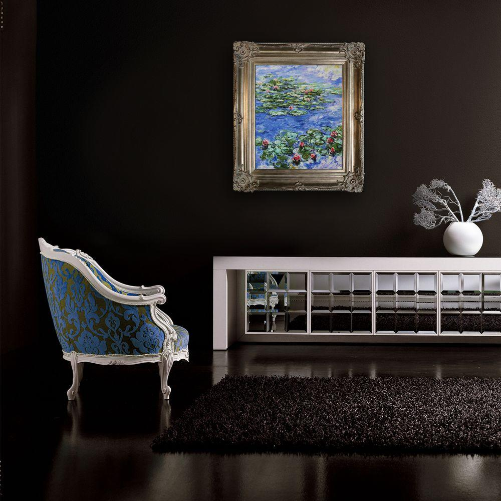 24 in. x 20 in. Water Lilies Hand-Painted Classic Artwork-MON2641-FR-801S20X24 -