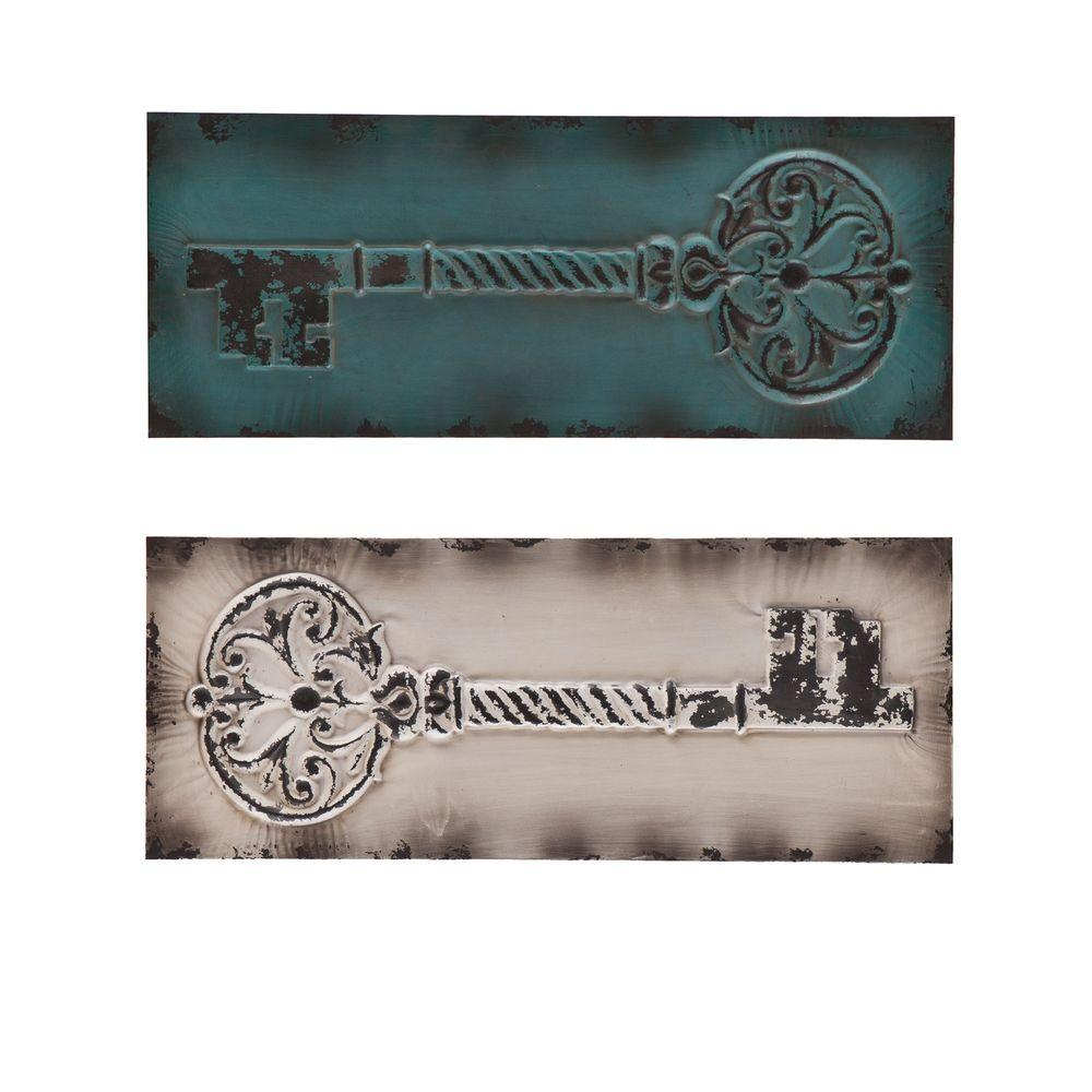 Southern Enterprises Wall Decor 12.5 in. x 31.25 in. Key Decorative Wall Panel Set (2-Piece) HD090139