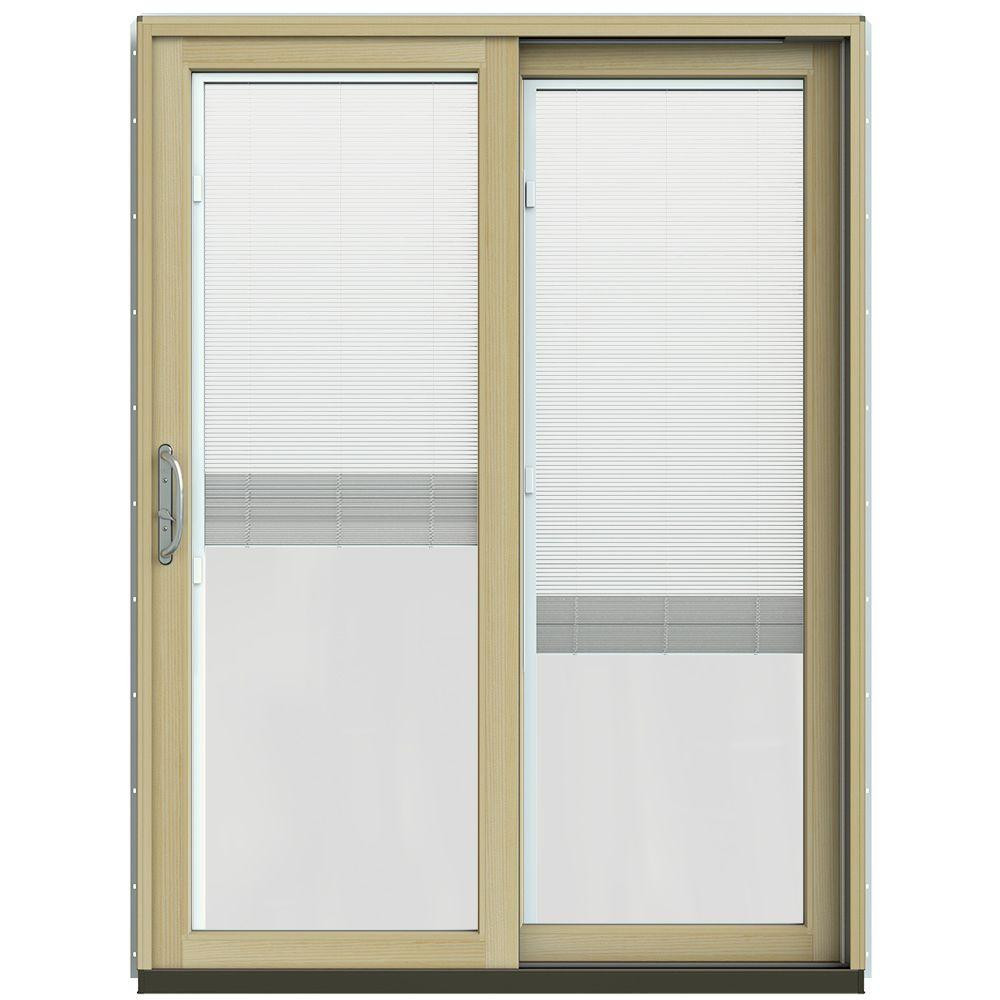 JELD-WEN 59-1/4 in. x 79-1/2 in. W-2500 Hartford Green Prehung Right-Hand Clad-Wood Sliding Patio Door with Blinds