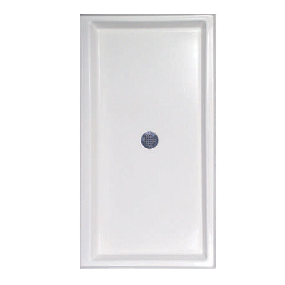 60 in. x 32 in. Single Threshold Shower Base in White