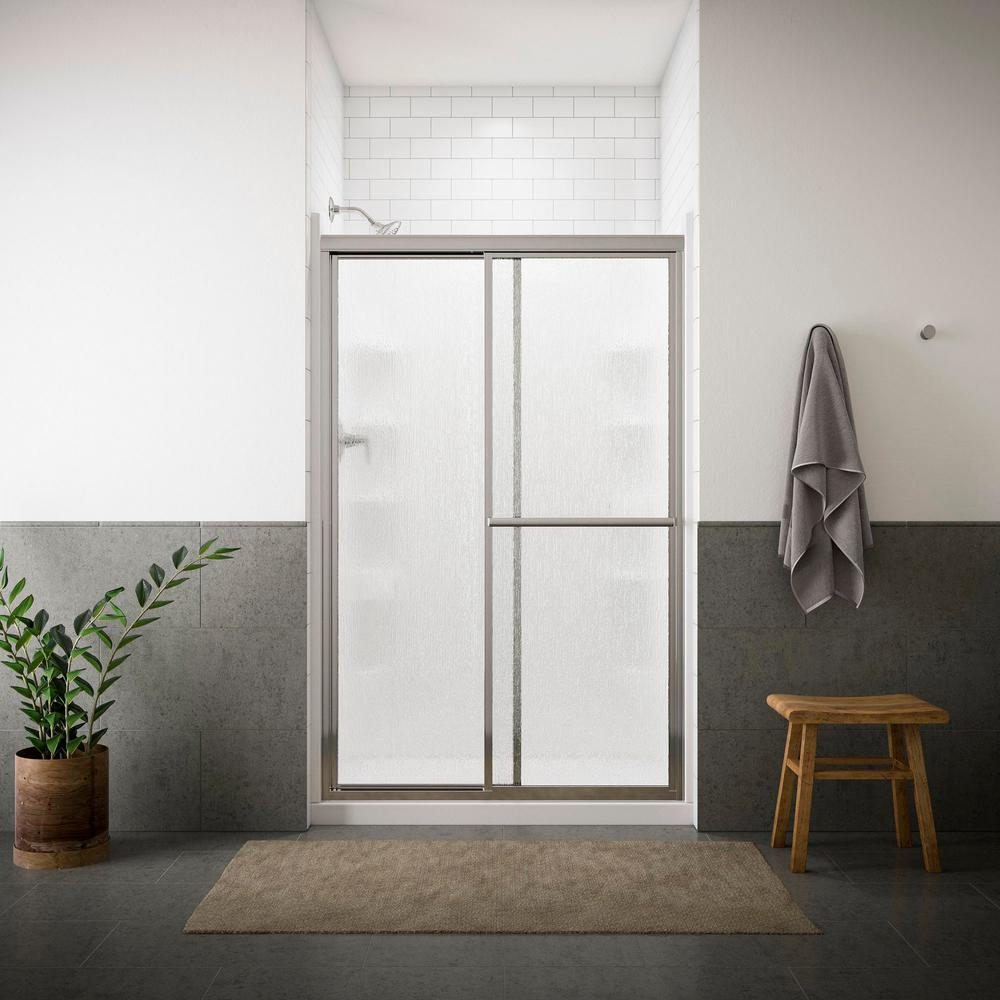 STERLING Deluxe 48-7/8 in. x 70 in. Framed Sliding Shower Door in Silver with Rain Glass Texture