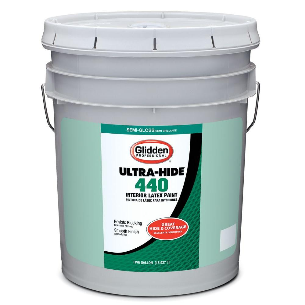 Glidden Professional 5 gal. Ultra Hide 440 Semi-Gloss White Tint Base Interior Paint