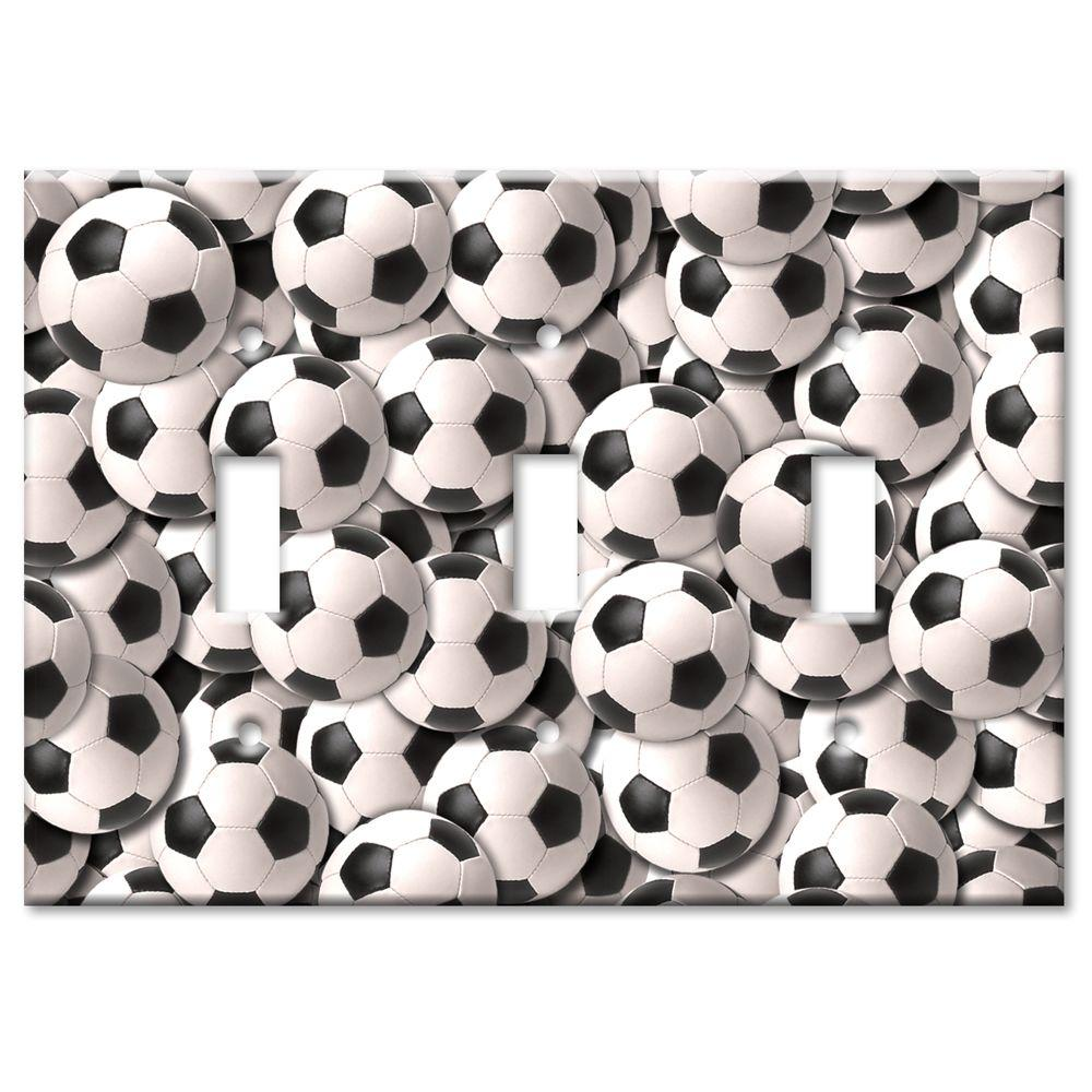 Art Plates Soccer Balls 3 Toggle Wall Plate