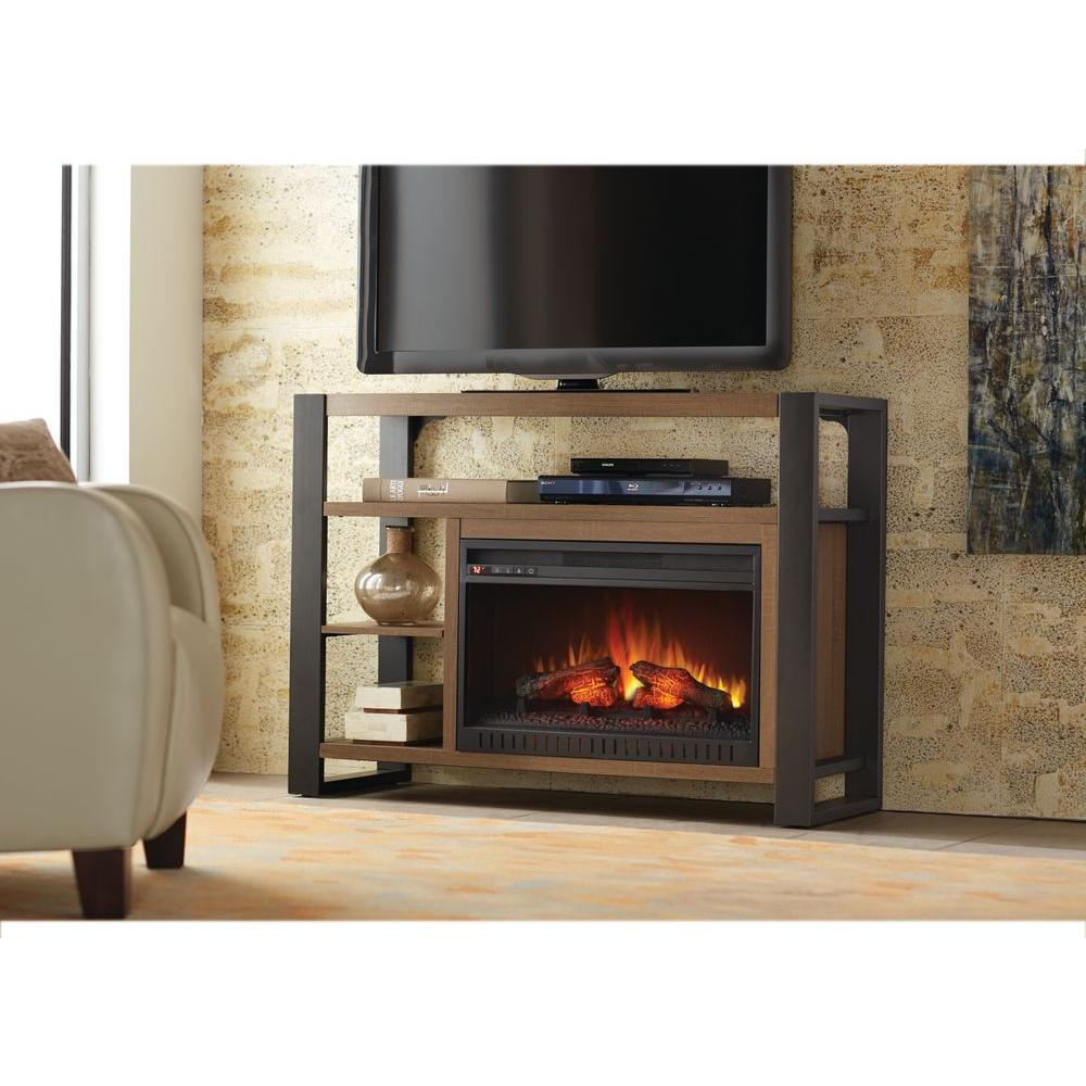 Home Decorators Collection Glynnis 46 In Media Console Infrared Modern Electric Fireplace In