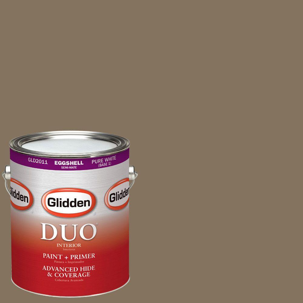 Glidden DUO 1-gal. #HDGWN34D Le Chateau Brown Eggshell Latex Interior Paint with Primer