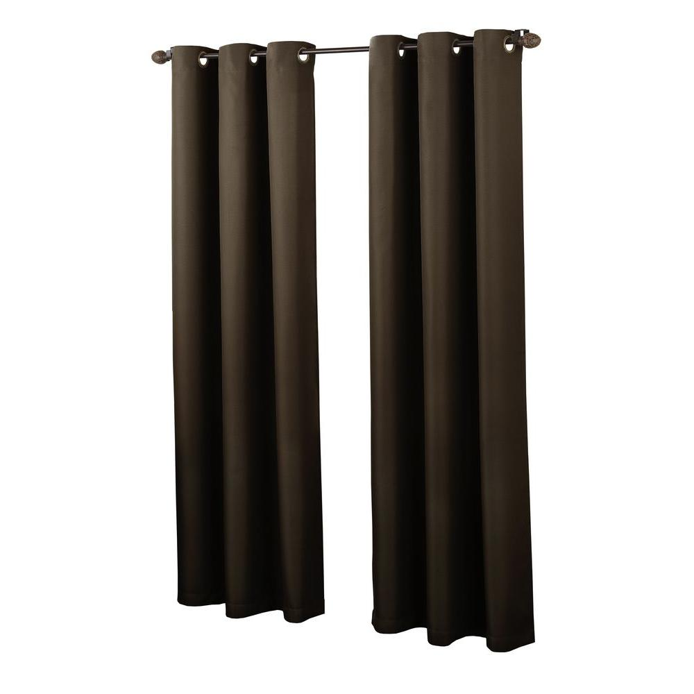 null Chocolate No. 918 Casual Montego Woven Grommet Top Curtain Panel, 48 in. W x 63 in. L