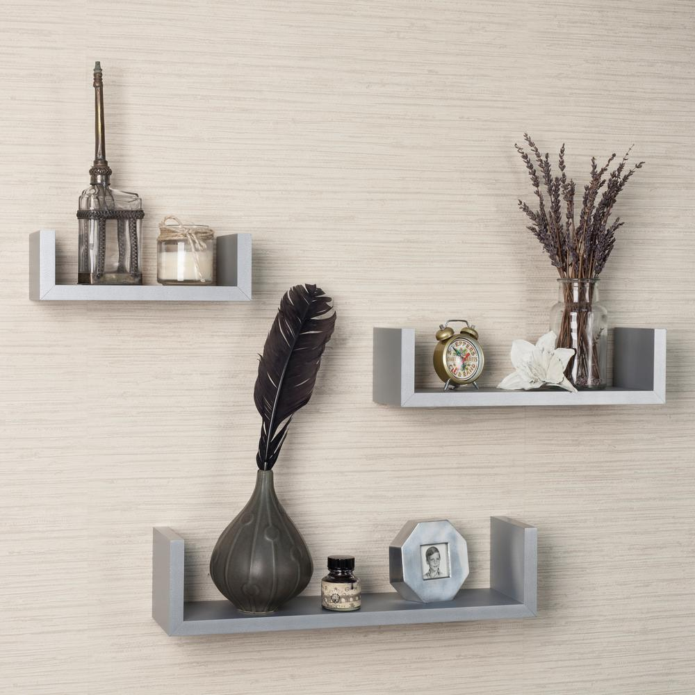 17 in. x 4 in. Gray Floating 'U' Laminated Shelves (Set
