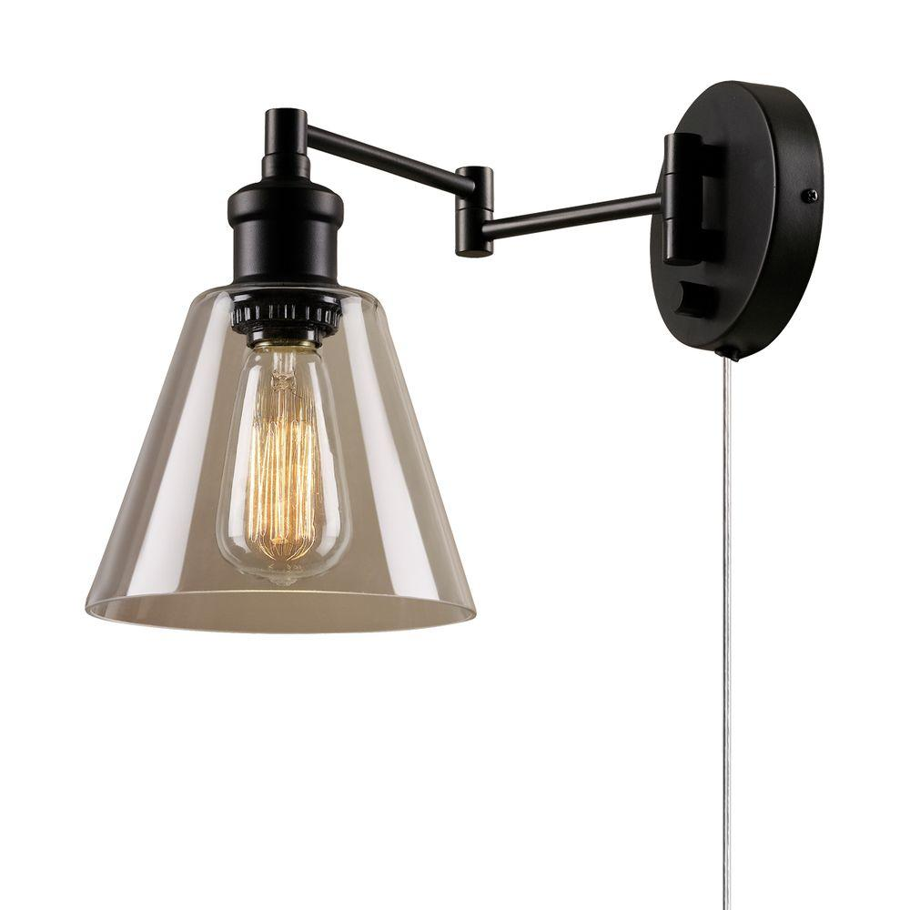 Globe Electric LeClair 1-Light Dark Bronze Plug-In or Hardwire Industrial Wall Sconce-65311 ...