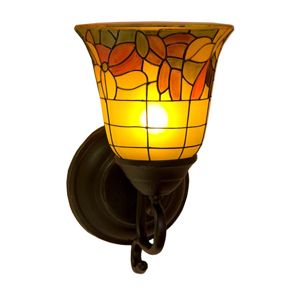 Outdoor Wall Light Stained Glass : It s Exciting Lighting Oil-Rubbed Bronze Indoor/Outdoor LED Flameless Wall Mounted Sconce with ...