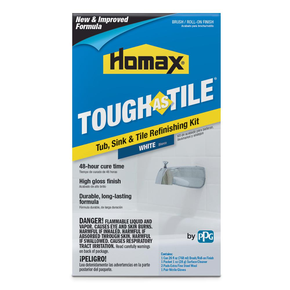 homax 26 oz. white tough as tile one part brush on kit-3154 - the