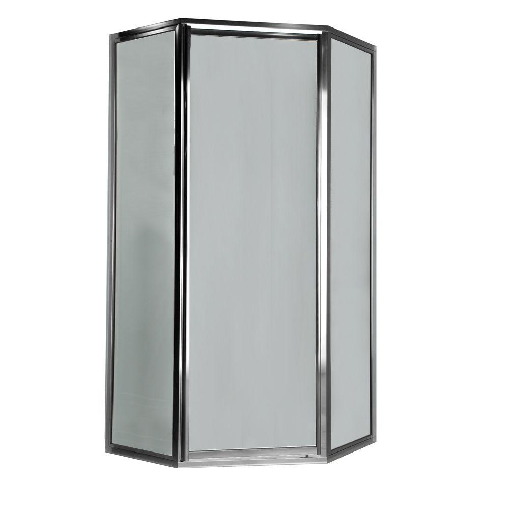 American Standard Prestige 24.1 in. x 68.5 in. Height Neo-Angle Shower Door in Silver and Clear Glass