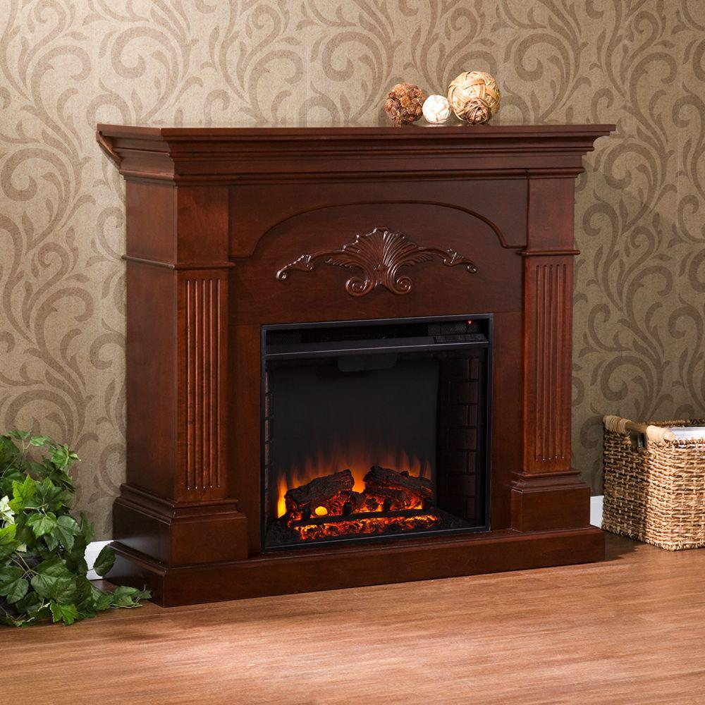 Southern Enterprises Oliver 44.75 in. Freestanding Electric Fireplace in Mahogany