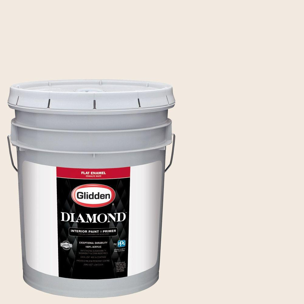 5 gal. #HDGWN03 Antique White Flat Interior Paint with Primer