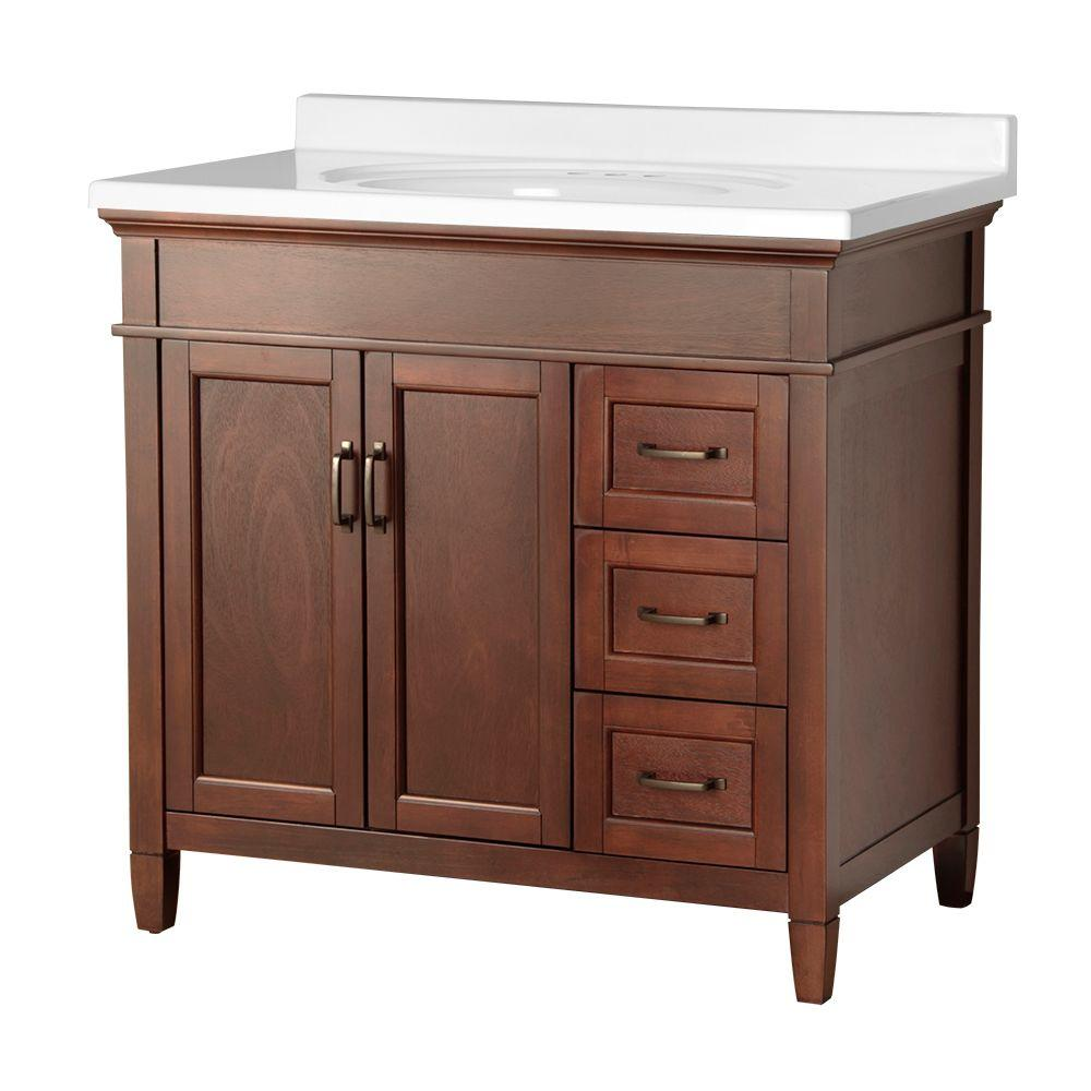 Foremost Ashburn 37 in. W x 22 in. D Vanity in Mahogany with Right Drawers with Vanity Top in White