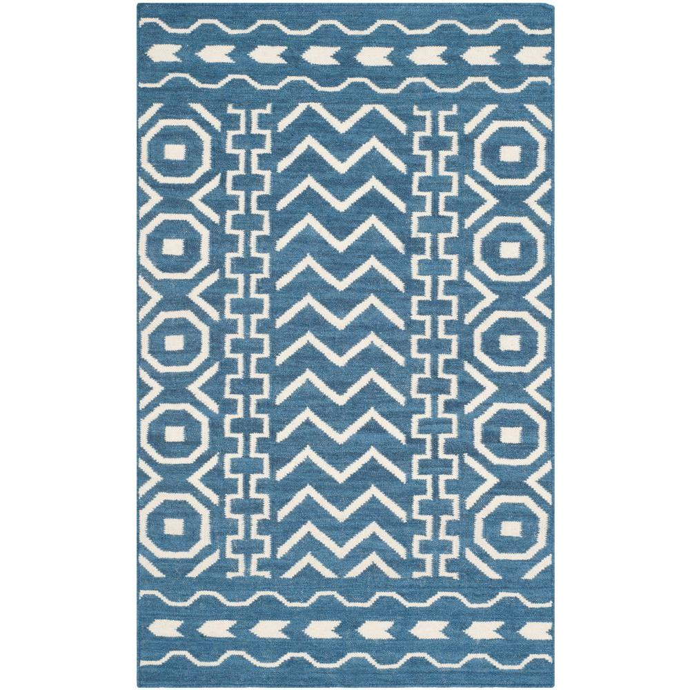 Dhurries Dark Blue/Ivory 3 ft. x 5 ft. Area Rug