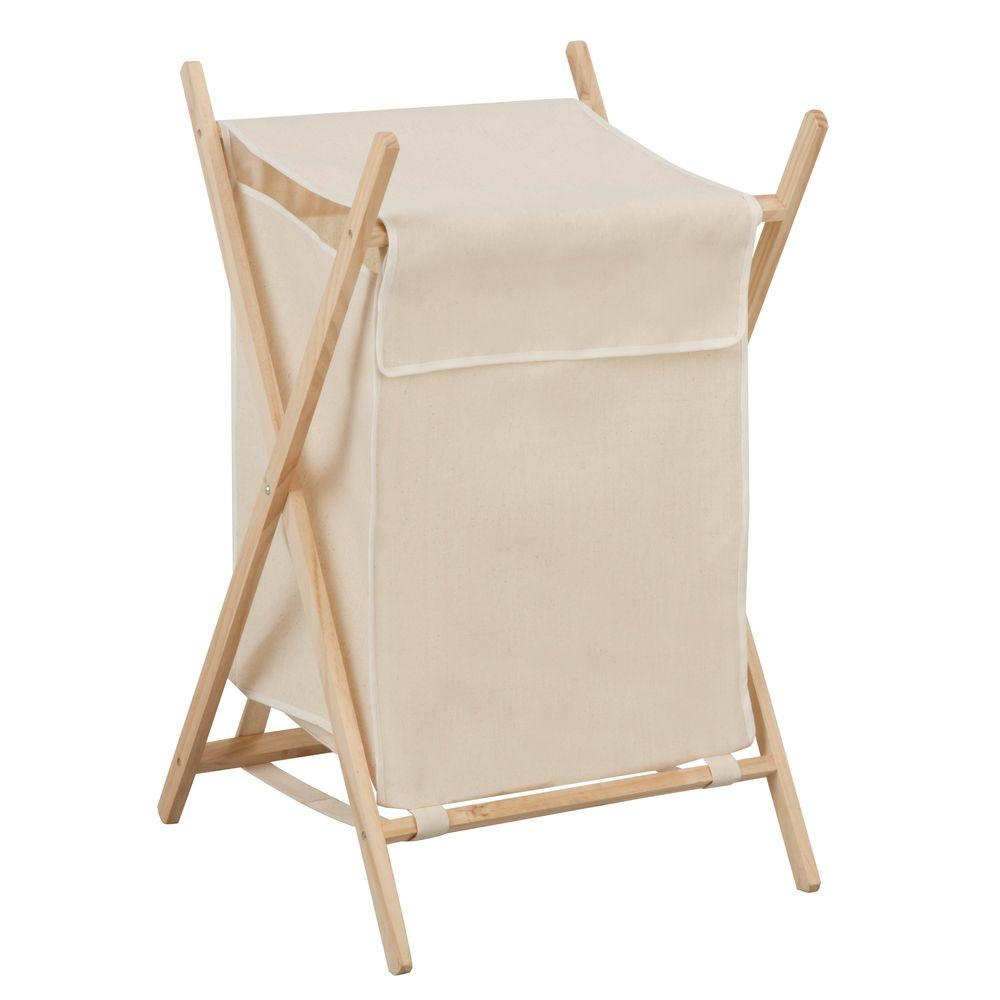 Honey can do folding wooden laundry hamper hmp 01365 the home depot - Collapsible clothes hamper ...
