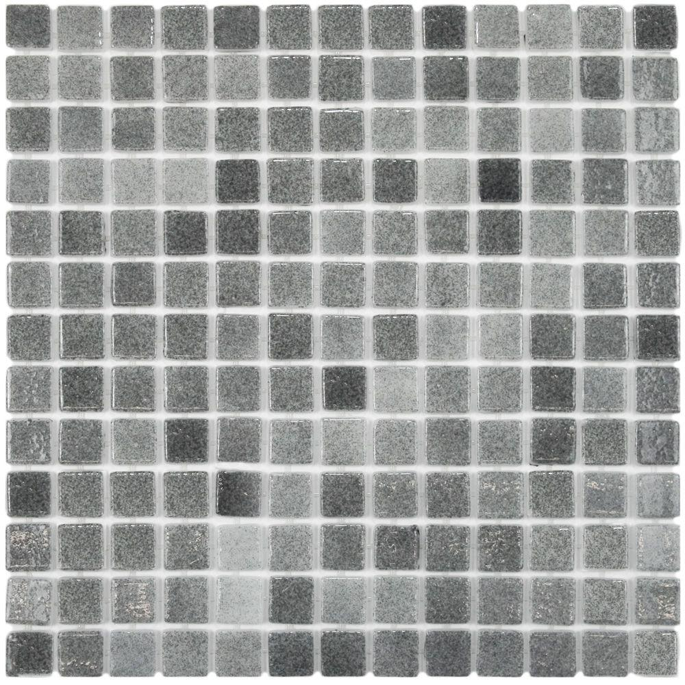Merola Tile Ruidera Square Gris 13 in. x 13 in. x 5 mm Glass Mosaic Tile