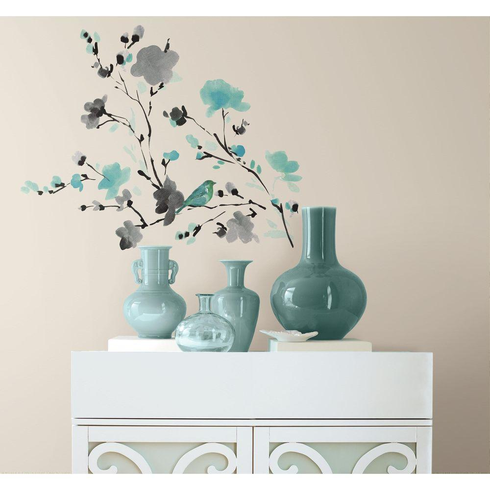 Roommates Wall Stickers : Roommates in blossom watercolor bird branch