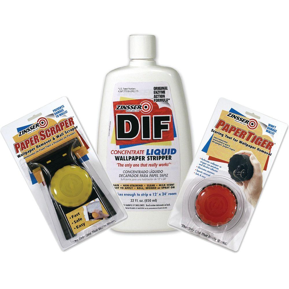 Zinsser DIF Wallpaper Remover Kit with 22 oz. Concentrate, Paper Scraper and Paper Tiger-DISCONTINUED