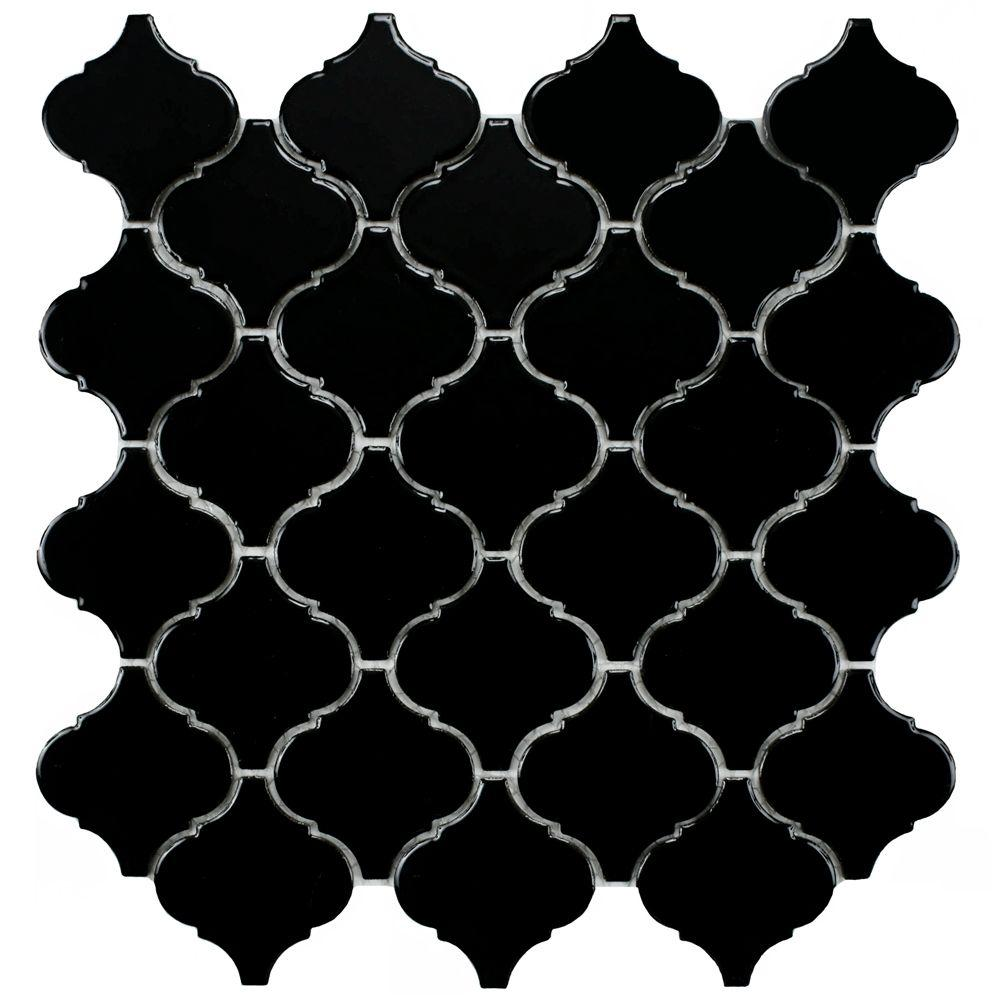Merola Tile Lantern Black 12-1/2 in. x 12-1/2 in. x 5 mm Porcelain Mosaic Floor and Wall Tile (11 sq. ft. /case)