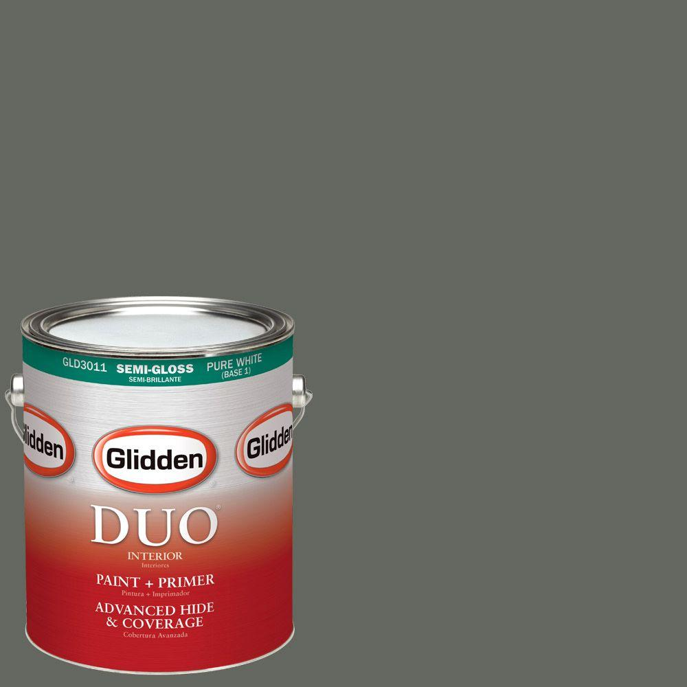 Glidden DUO 1-gal. #HDGCN13U Deepest Valley Green Semi-Gloss Latex Interior Paint with Primer