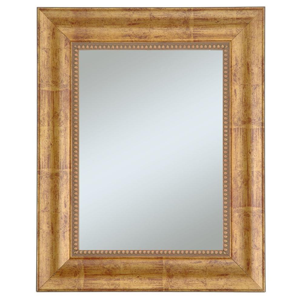 null Lorrain 30 in. x 36 in. Gold with Red Undertones Framed Wall Mirror with Beads