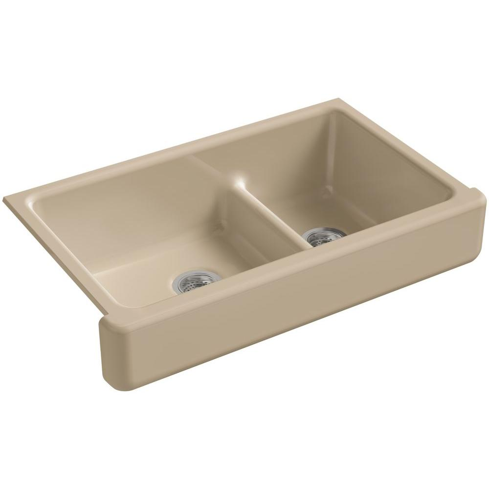 Apron Front Double Sink : ... Apron-Front Cast Iron 36 in. Double Bowl Kitchen Sink in Mexican Sand