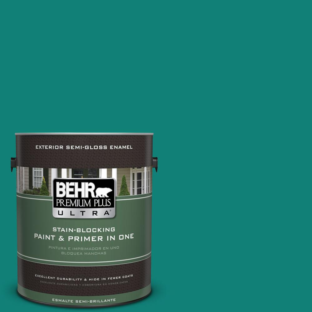BEHR Premium Plus Ultra Home Decorators Collection 1-gal. #HDC-WR14-9 Green Garlands Semi-Gloss Enamel Exterior Paint