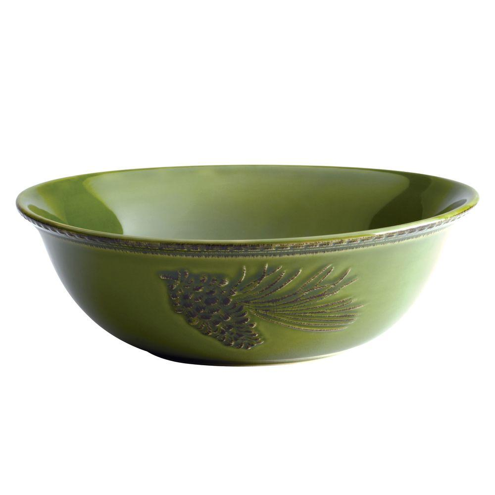 Dinnerware Sierra Pine Stoneware 10 in. Round Serving Bowl in Forest