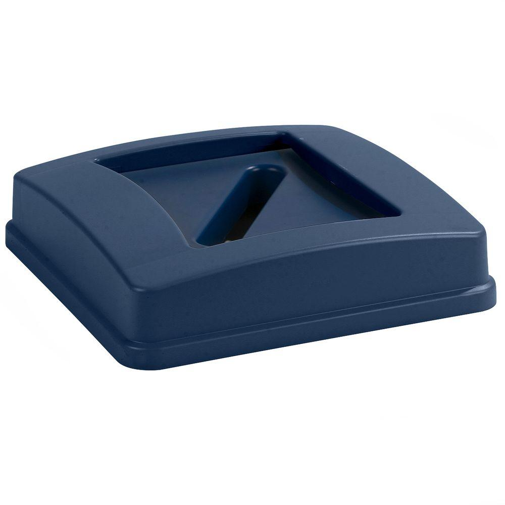 Carlisle Centurian 35 Gal. and 50 Gal. Blue Trash Can Paper Recycling Lid (4-Pack)