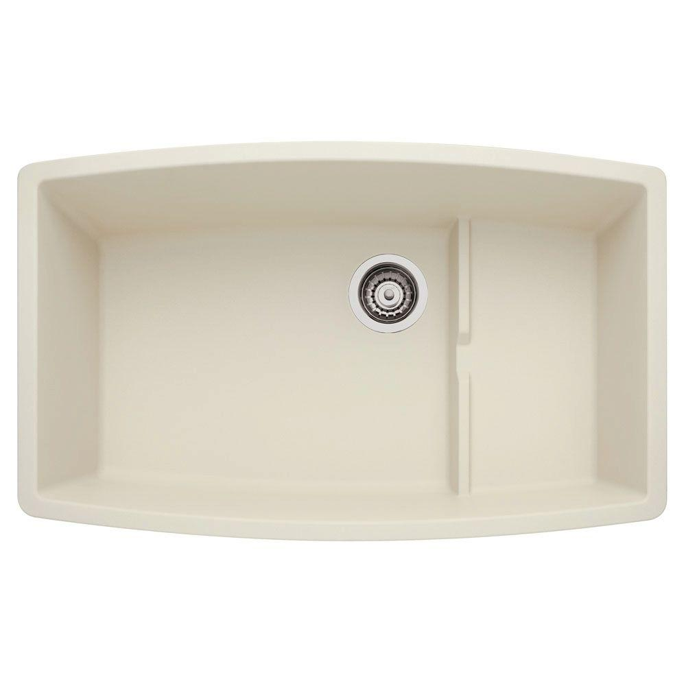 ... Composite 19.5 in. Cascade Super Single Bowl Kitchen Sink in Biscuit