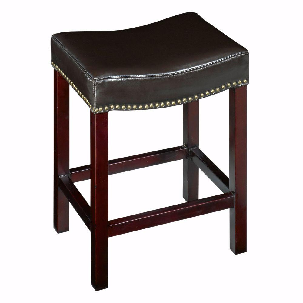 Home decorators collection 24 in brown cushioned bar stool 5376700830 the home depot Home depot wood bar stools