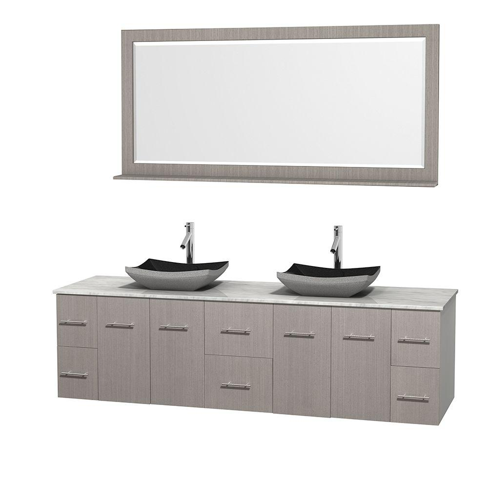 Wyndham Collection Centra 80 in. Double Vanity in Gray Oak with