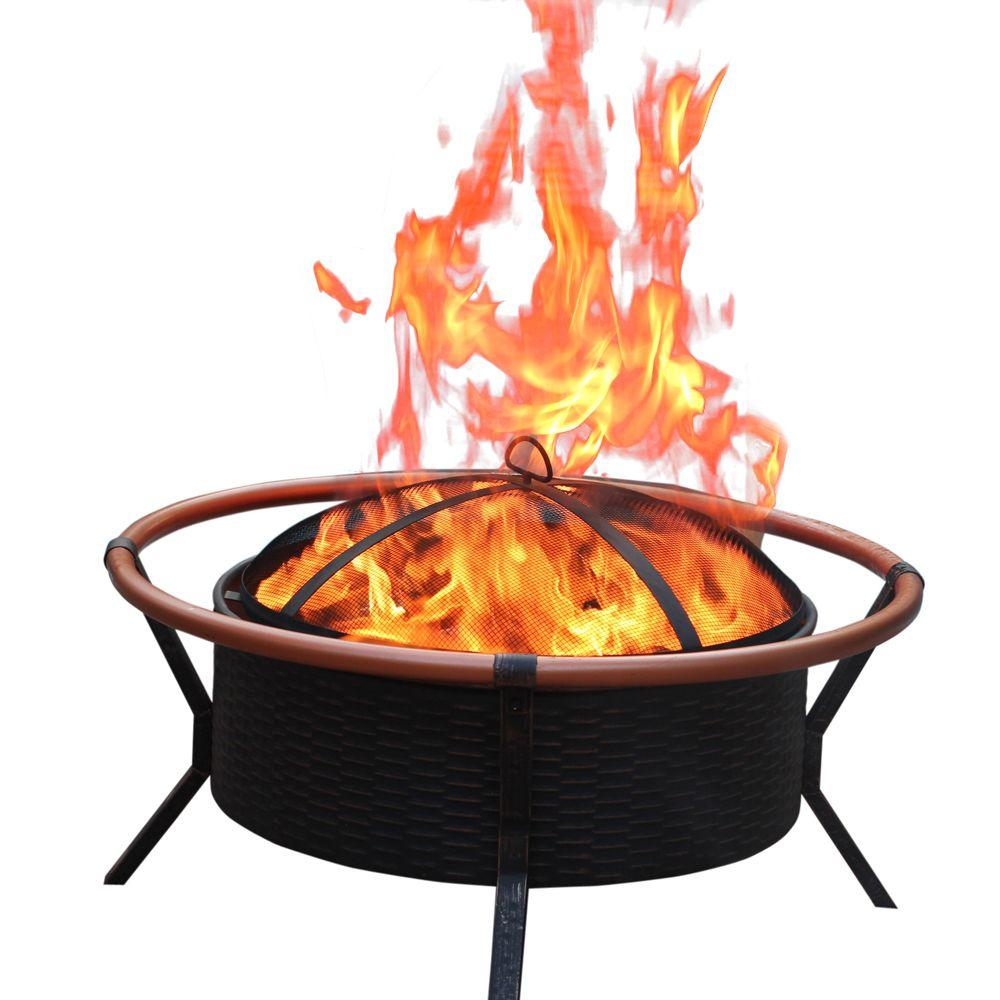 Jeco 34 in. Copper Finish Steel Fire Pit-FP008 - The Home