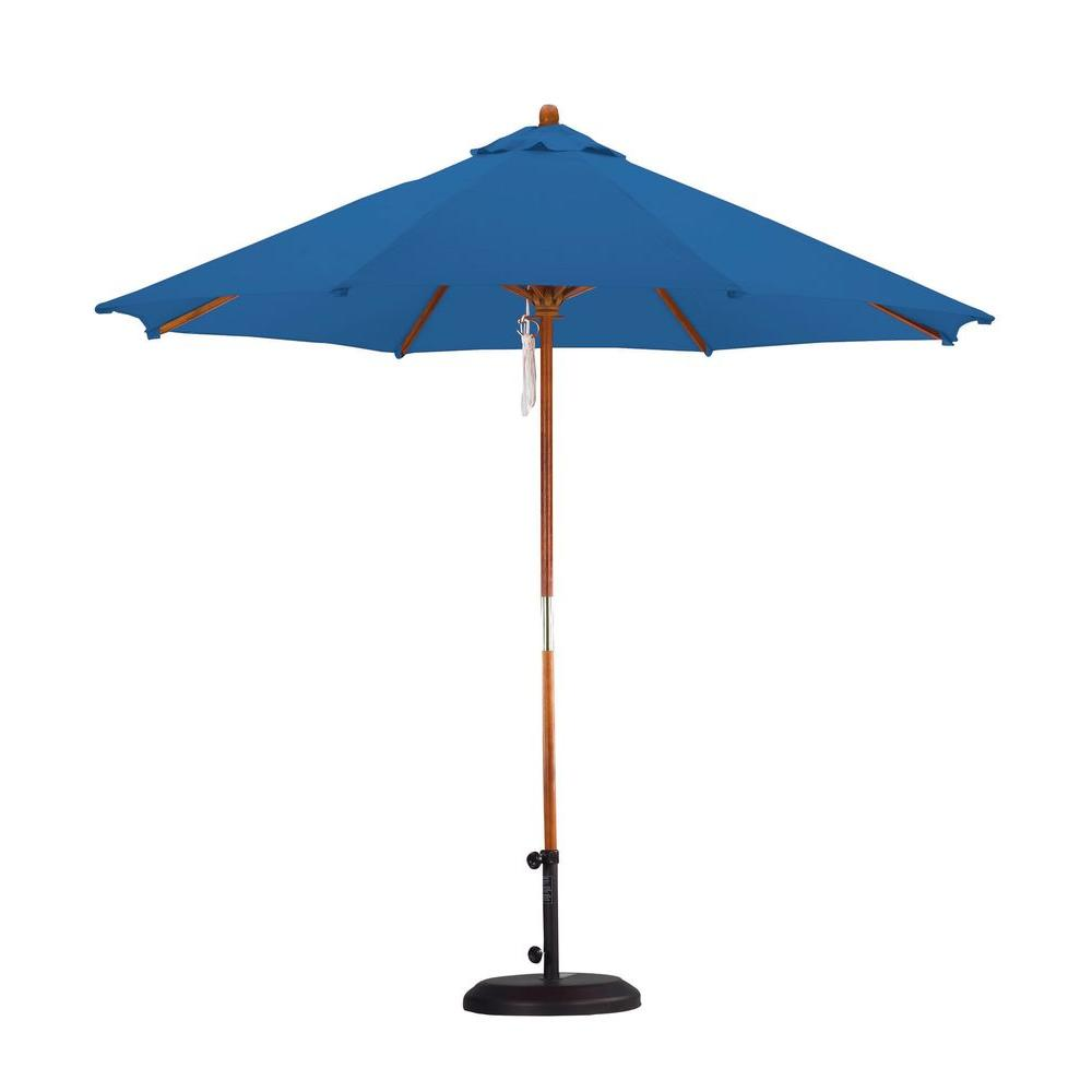 9 ft. Wood Pulley Open Patio Umbrella in Pacific Blue Polyester
