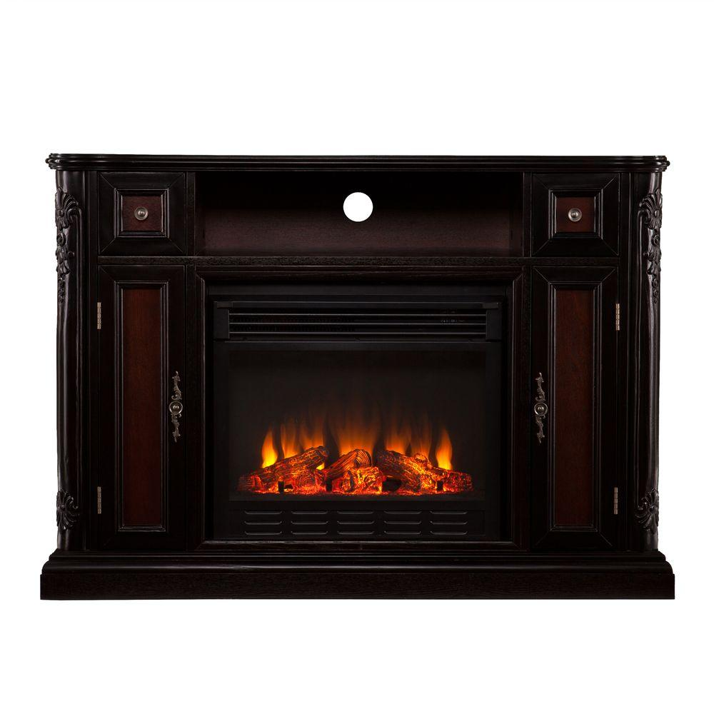 Southern Enterprises Irma 48 in. Media Console Electric Fireplace in Ebony with Dark Antique Red and Espresso