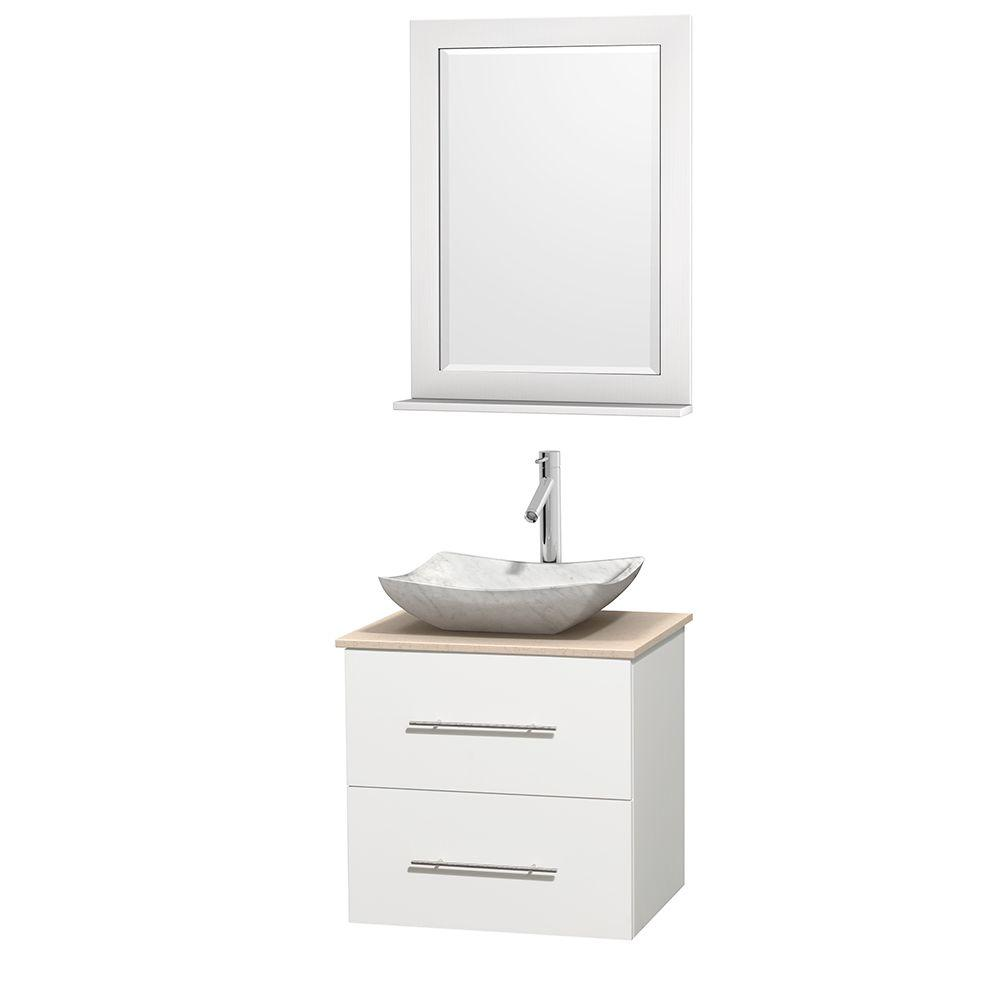 Wyndham Collection Centra 24 in. Vanity in White with Marble Vanity Top in Ivory, Carrara White Marble Sink and 24 in. Mirror