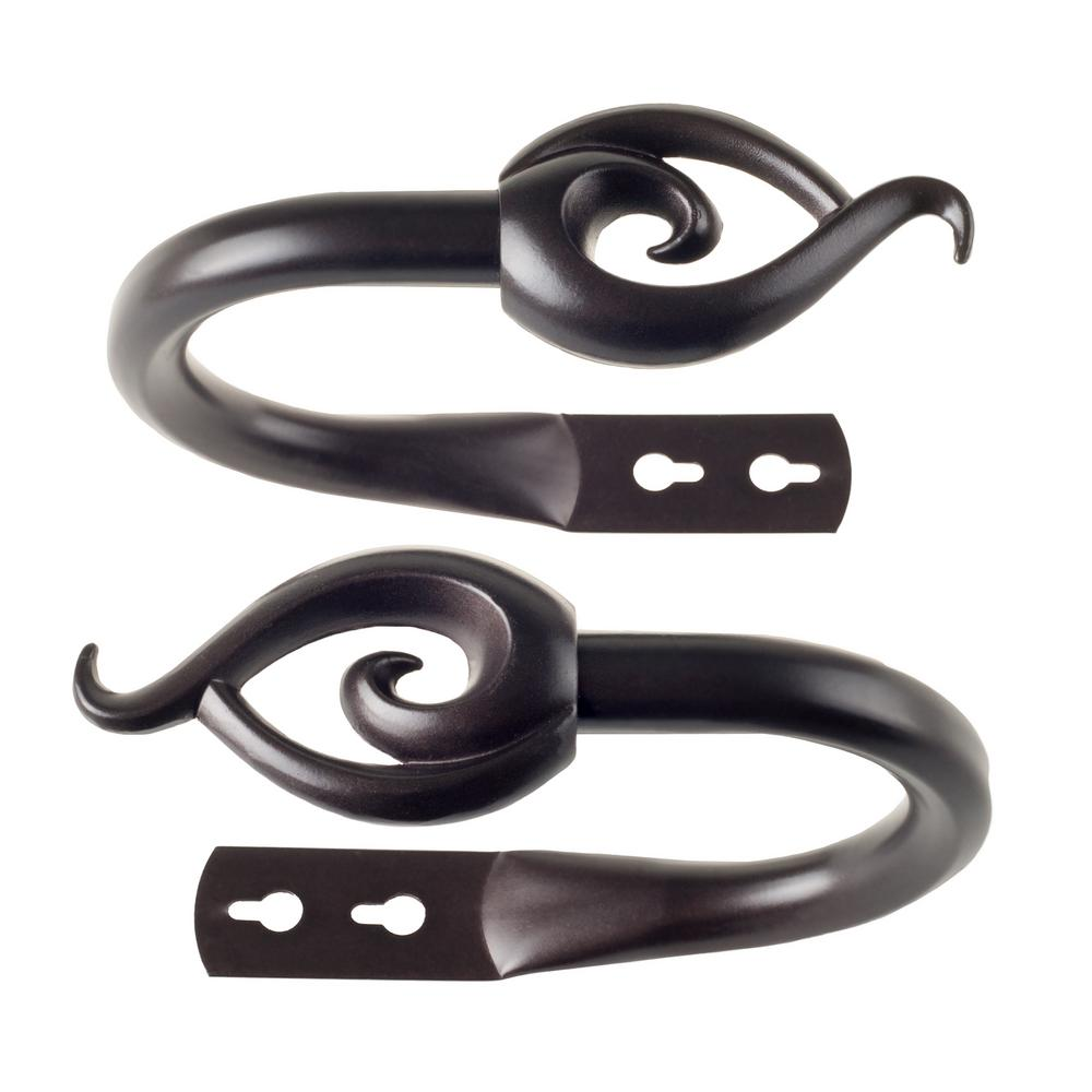 Flame Holdback Pair in Rubbed Bronze