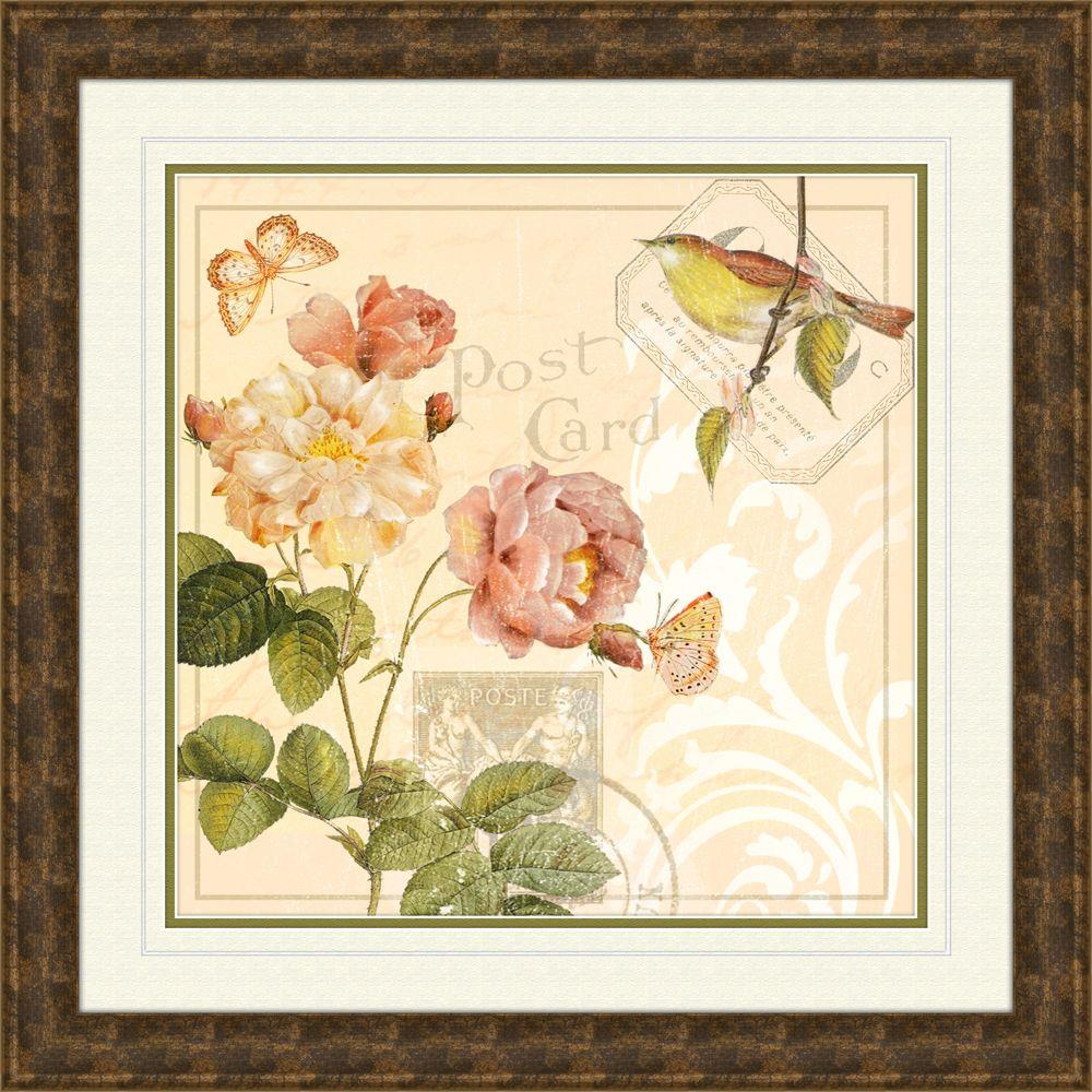 "null 19.5 in. x 19.5 in. ""Ivory Floral B"" Framed Wall Art"