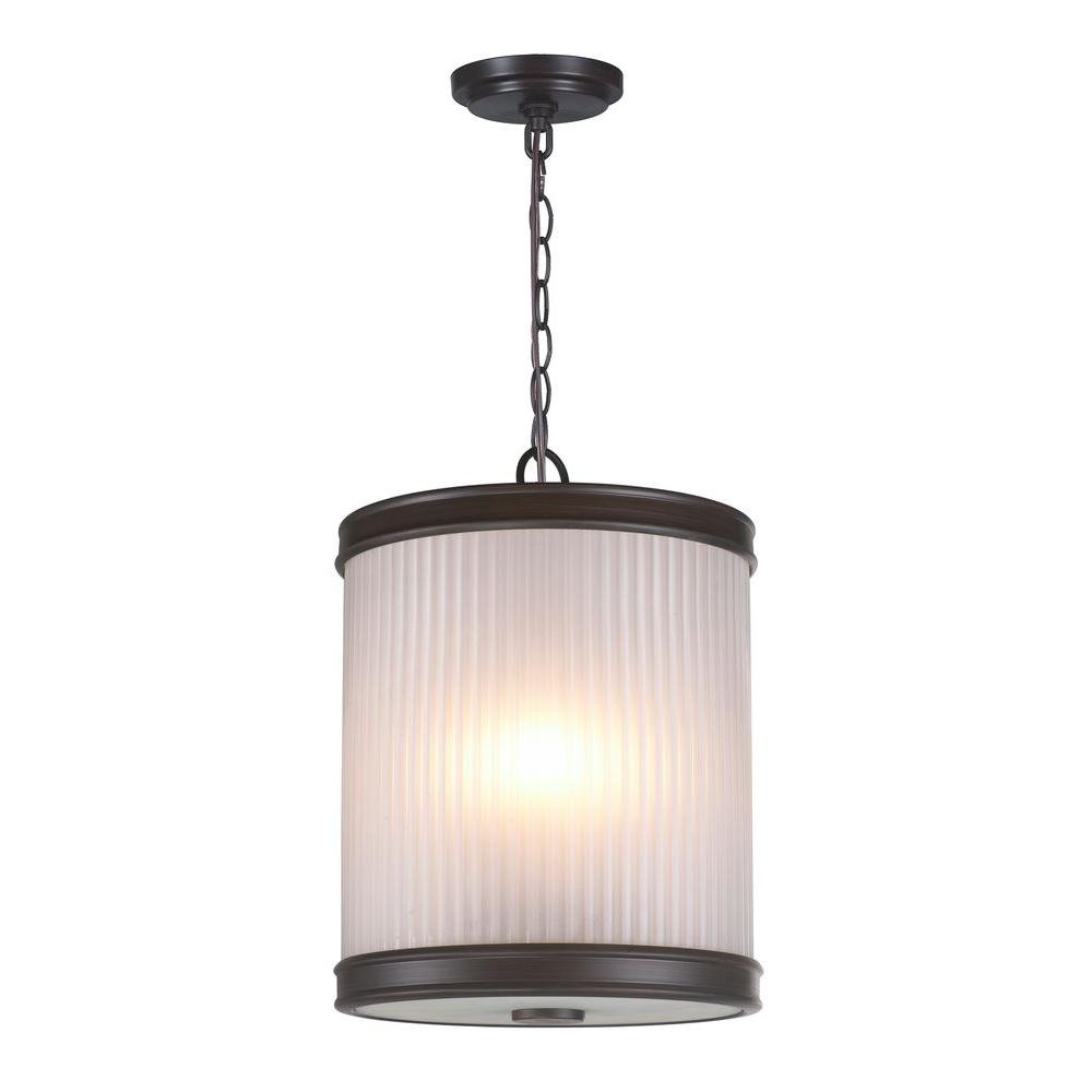 World Imports 3-Light Oil-Rubbed Bronze Pendant with Ribbed Glass Shade