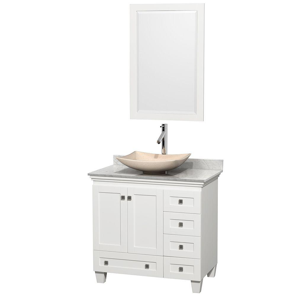 Wyndham Collection Acclaim 36 in. W Vanity in White with Marble Vanity Top in Carrara White, Ivory Marble Sink and Mirror