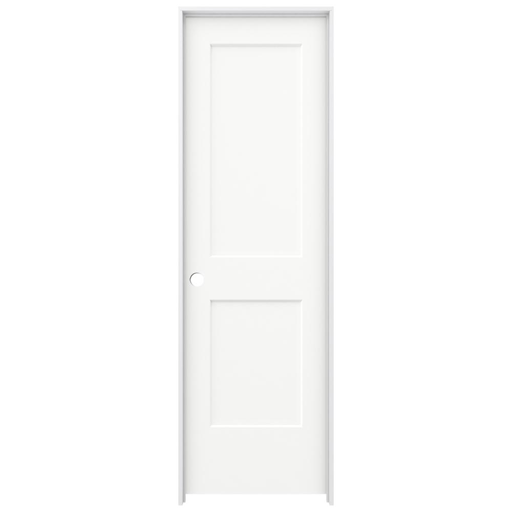 Jeld Wen 24 In X 80 In Monroe White Painted Right Hand Smooth Solid Core Molded Composite Mdf