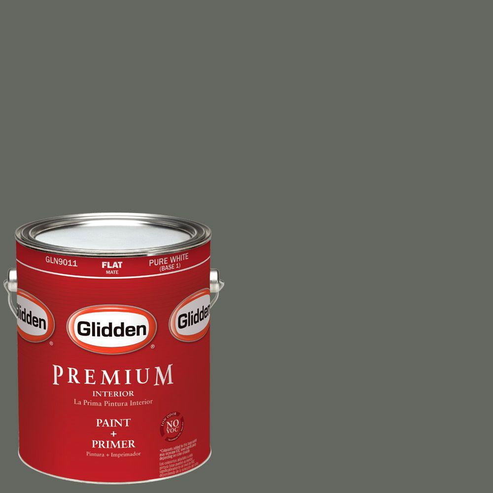 Glidden Premium 1-gal. #HDGCN13U Deepest Valley Green Flat Latex Interior Paint with Primer