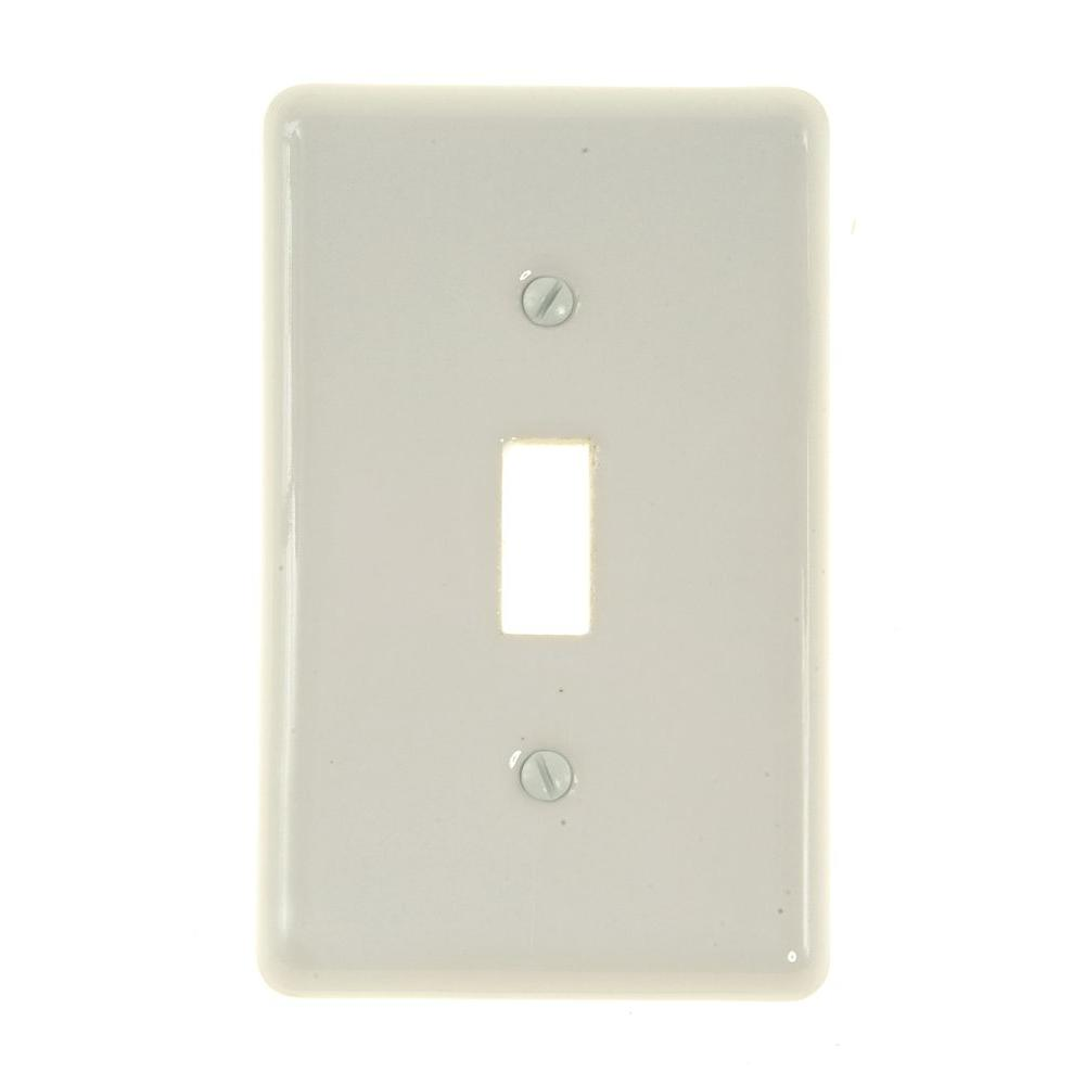 Amerelle Nouveau Ceramic 1 Toggle Wall Plate - White-3005TW - The