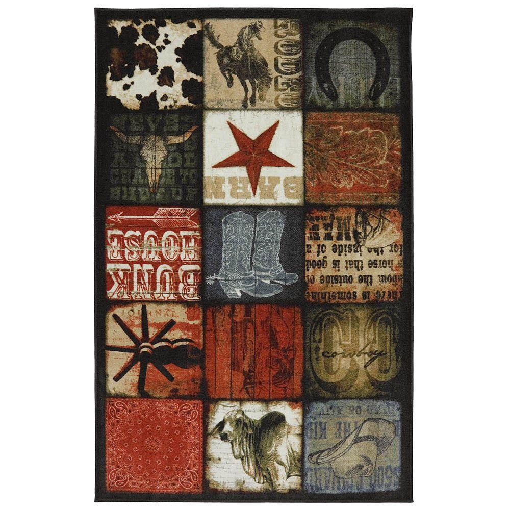 American Rug Craftsmen Cowboy Patches Multi 5 ft. x 8 ft.