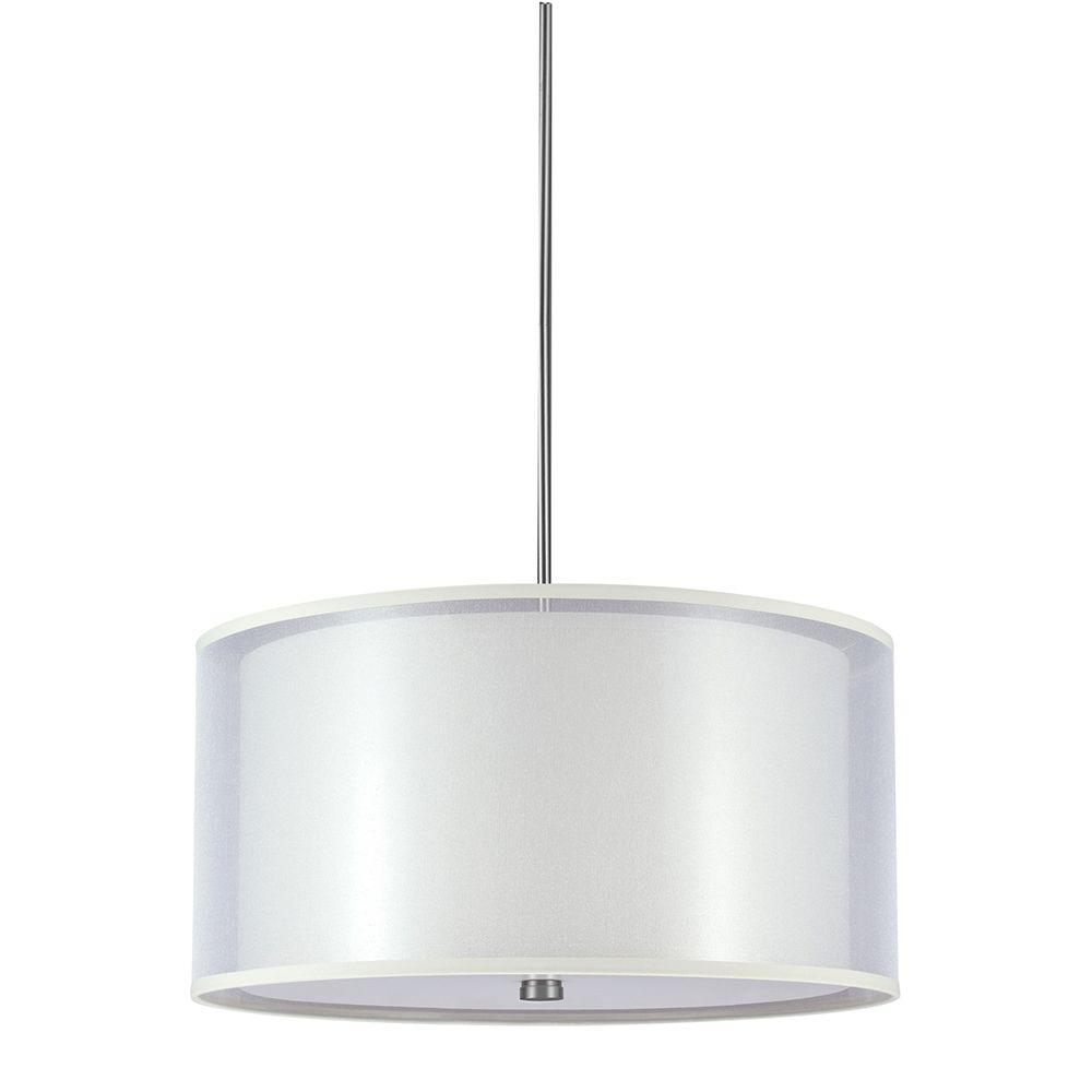 Sea Gull Lighting Jordyn 4-Light Brushed Nickel Fluorescent Shade Pendant with Beige Linen Shades and White Acrylic Diffuser
