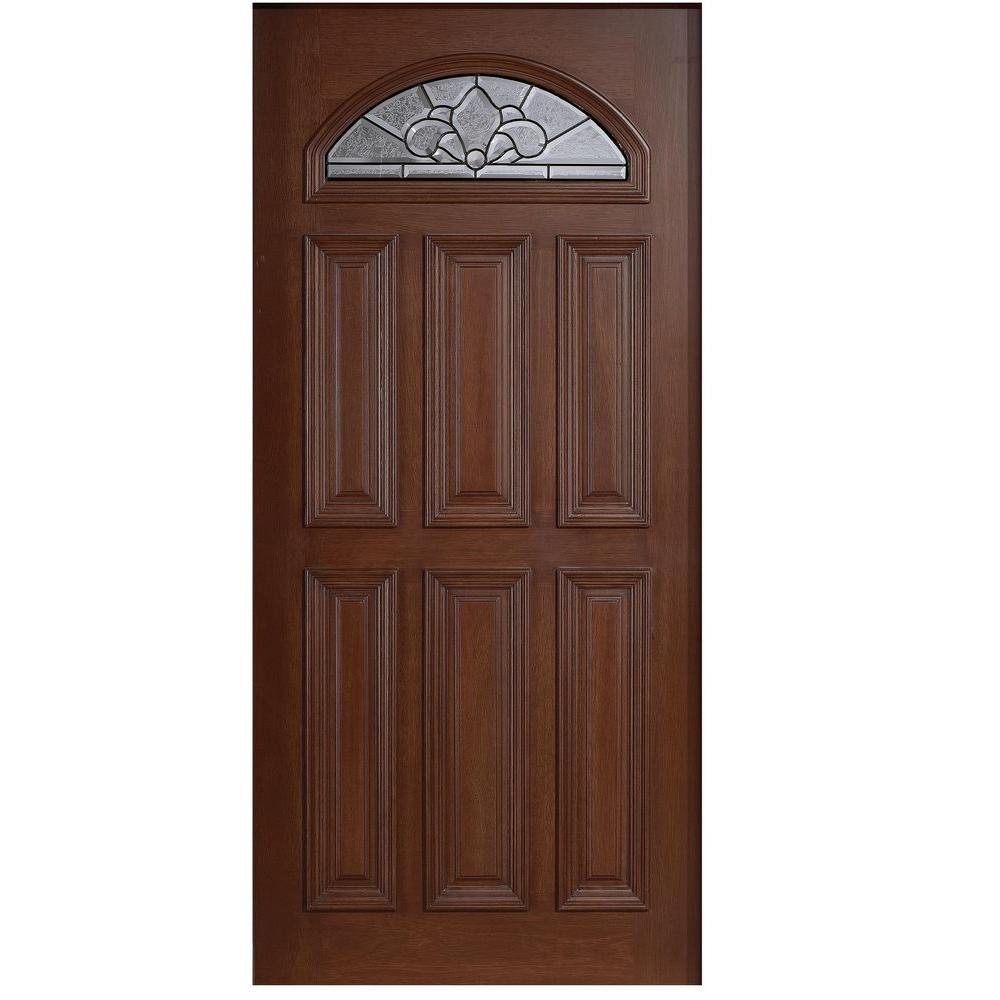 Main Door 36 in. x 80 in. Mahogany Type Fan Lite Glass Prefinished Antique Beveled Patina Solid Stained Wood Front Door Slab